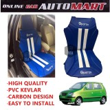 Sparzo Kevlar Carbon 3D Seat Cushion Seat Mat 1 Pc MADE IN THAILAND (BLUE+WHITE LINE) For HYUNDAI ATOS