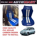Sparzo Kevlar Carbon 3D Seat Cushion Seat Mat 1 Pc MADE IN THAILAND (BLUE+WHITE LINE) For HYUNDAI MATRIX