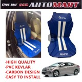 Sparzo Kevlar Carbon 3D Seat Cushion Seat Mat 1 Pc MADE IN THAILAND (BLUE+WHITE LINE) For HYUNDAI ELANTRA