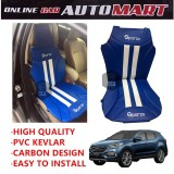 Sparzo Kevlar Carbon 3D Seat Cushion Seat Mat 1 Pc MADE IN THAILAND (BLUE+WHITE LINE) For HYUNDAI SANTA FE