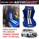 Sparzo Kevlar Carbon 3D Seat Cushion Seat Mat 1 Pc MADE IN THAILAND (BLUE+WHITE LINE) For HYUNDAI I10