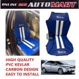 Sparzo Kevlar Carbon 3D Seat Cushion Seat Mat 1 Pc MADE IN THAILAND (BLUE+WHITE LINE) For KIA FORTE