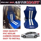 Sparzo Kevlar Carbon 3D Seat Cushion Seat Mat 1 Pc MADE IN THAILAND (BLUE+WHITE LINE) For KIA RIO