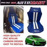 Sparzo Kevlar Carbon 3D Seat Cushion Seat Mat 1 Pc MADE IN THAILAND (BLUE+WHITE LINE) For MAZDA 2