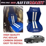 Sparzo Kevlar Carbon 3D Seat Cushion Seat Mat 1 Pc MADE IN THAILAND (BLUE+WHITE LINE) For MAZDA 3