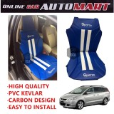 Sparzo Kevlar Carbon 3D Seat Cushion Seat Mat 1 Pc MADE IN THAILAND (BLUE+WHITE LINE) For MAZDA 5