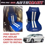 Sparzo Kevlar Carbon 3D Seat Cushion Seat Mat 1 Pc MADE IN THAILAND (BLUE+WHITE LINE) For MAZDA 8