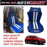 Sparzo Kevlar Carbon 3D Seat Cushion Seat Mat 1 Pc MADE IN THAILAND (BLUE+WHITE LINE) For MAZDA CX-3