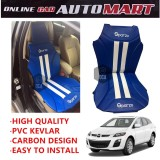Sparzo Kevlar Carbon 3D Seat Cushion Seat Mat 1 Pc MADE IN THAILAND (BLUE+WHITE LINE) For MAZDA CX-7
