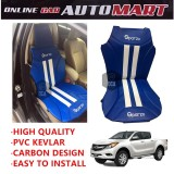 Sparzo Kevlar Carbon 3D Seat Cushion Seat Mat 1 Pc MADE IN THAILAND (BLUE+WHITE LINE) For MAZDA BT-50