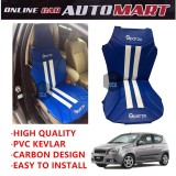 Sparzo Kevlar Carbon 3D Seat Cushion Seat Mat 1 Pc MADE IN THAILAND (BLUE+WHITE LINE) For CHEVROLET AVEO