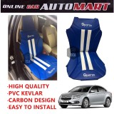 Sparzo Kevlar Carbon 3D Seat Cushion Seat Mat 1 Pc MADE IN THAILAND (BLUE+WHITE LINE) For CHEVROLET CRUZE