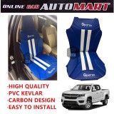 Sparzo Kevlar Carbon 3D Seat Cushion Seat Mat 1 Pc MADE IN THAILAND (BLUE+WHITE LINE) For CHEVROLET COLORADO