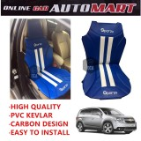 Sparzo Kevlar Carbon 3D Seat Cushion Seat Mat 1 Pc MADE IN THAILAND (BLUE+WHITE LINE) For CHEVROLET ORLANDO