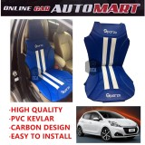 Sparzo Kevlar Carbon 3D Seat Cushion Seat Mat 1 Pc MADE IN THAILAND (BLUE+WHITE LINE) For PEUGEOT 208