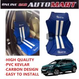 Sparzo Kevlar Carbon 3D Seat Cushion Seat Mat 1 Pc MADE IN THAILAND (BLUE+WHITE LINE) For PEUGEOT 2008