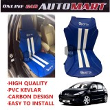 Sparzo Kevlar Carbon 3D Seat Cushion Seat Mat 1 Pc MADE IN THAILAND (BLUE+WHITE LINE) For PEUGEOT 307
