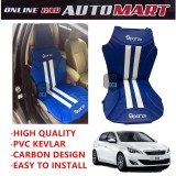 Sparzo Kevlar Carbon 3D Seat Cushion Seat Mat 1 Pc MADE IN THAILAND (BLUE+WHITE LINE) For PEUGEOT 308