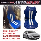 Sparzo Kevlar Carbon 3D Seat Cushion Seat Mat 1 Pc MADE IN THAILAND (BLUE+WHITE LINE) For PEUGEOT 407