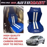 Sparzo Kevlar Carbon 3D Seat Cushion Seat Mat 1 Pc MADE IN THAILAND (BLUE+WHITE LINE) For PEUGEOT 408