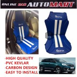 Sparzo Kevlar Carbon 3D Seat Cushion Seat Mat 1 Pc MADE IN THAILAND (BLUE+WHITE LINE) For PEUGEOT 5008