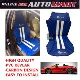 Sparzo Kevlar Carbon 3D Seat Cushion Seat Mat 1 Pc MADE IN THAILAND (BLUE+WHITE LINE) For PORSCHE 718 BOXSTER