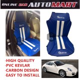 Sparzo Kevlar Carbon 3D Seat Cushion Seat Mat 1 Pc MADE IN THAILAND (BLUE+WHITE LINE) For PORSCHE 911 CARRERA