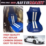 Sparzo Kevlar Carbon 3D Seat Cushion Seat Mat 1 Pc MADE IN THAILAND (BLUE+WHITE LINE) For PORSCHE 911 TURBO