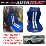 Sparzo Kevlar Carbon 3D Seat Cushion Seat Mat 1 Pc MADE IN THAILAND (BLUE+WHITE LINE) For PORSCHE MAGAN/MAGAN S