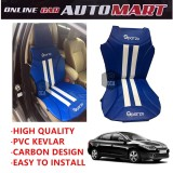 Sparzo Kevlar Carbon 3D Seat Cushion Seat Mat 1 Pc MADE IN THAILAND (BLUE+WHITE LINE) For RENAULT FLUENCE