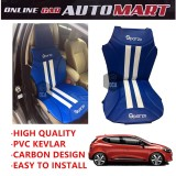 Sparzo Kevlar Carbon 3D Seat Cushion Seat Mat 1 Pc MADE IN THAILAND (BLUE+WHITE LINE) For RENAULT CLIO