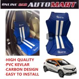 Sparzo Kevlar Carbon 3D Seat Cushion Seat Mat 1 Pc MADE IN THAILAND (BLUE+WHITE LINE) For RENAULT CAPTUR