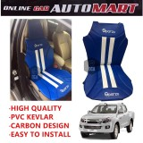 Sparzo Kevlar Carbon 3D Seat Cushion Seat Mat 1 Pc MADE IN THAILAND (BLUE+WHITE LINE) For ISUZU DMAX