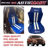 Sparzo Kevlar Carbon 3D Seat Cushion Seat Mat 1 Pc MADE IN THAILAND (BLUE+WHITE LINE) For FORD ESCAPE