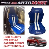 Sparzo Kevlar Carbon 3D Seat Cushion Seat Mat 1 Pc MADE IN THAILAND (BLUE+WHITE LINE) For FORD EVEREST