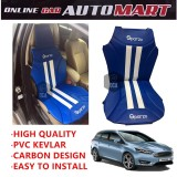 Sparzo Kevlar Carbon 3D Seat Cushion Seat Mat 1 Pc MADE IN THAILAND (BLUE+WHITE LINE) For FORD FOCUS