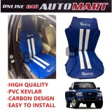 Sparzo Kevlar Carbon 3D Seat Cushion Seat Mat 1 Pc MADE IN THAILAND (BLUE+WHITE LINE) For FORD RANGER