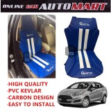 Sparzo Kevlar Carbon 3D Seat Cushion Seat Mat 1 Pc MADE IN THAILAND (BLUE+WHITE LINE) For FORD FIESTA
