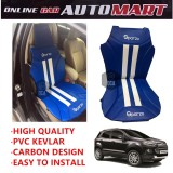 Sparzo Kevlar Carbon 3D Seat Cushion Seat Mat 1 Pc MADE IN THAILAND (BLUE+WHITE LINE) For FORD ECOSPORT