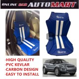 Sparzo Kevlar Carbon 3D Seat Cushion Seat Mat 1 Pc MADE IN THAILAND (BLUE+WHITE LINE) For RANGE ROVER SPORT