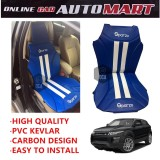 Sparzo Kevlar Carbon 3D Seat Cushion Seat Mat 1 Pc MADE IN THAILAND (BLUE+WHITE LINE) For LAND ROVER EVOQUE