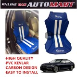 Sparzo Kevlar Carbon 3D Seat Cushion Seat Mat 1 Pc MADE IN THAILAND (BLUE+WHITE LINE) For BMW SERIES 7 (F01/F02/F04)