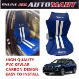 Sparzo Kevlar Carbon 3D Seat Cushion Seat Mat 1 Pc MADE IN THAILAND (BLUE+WHITE LINE) For BMW X1 (E84)