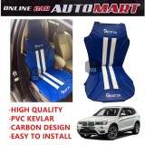 Sparzo Kevlar Carbon 3D Seat Cushion Seat Mat 1 Pc MADE IN THAILAND (BLUE+WHITE LINE) For BMW X3 (F25)