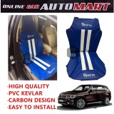 Sparzo Kevlar Carbon 3D Seat Cushion Seat Mat 1 Pc MADE IN THAILAND (BLUE+WHITE LINE) For BMW X5 (E70)