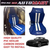 Sparzo Kevlar Carbon 3D Seat Cushion Seat Mat 1 Pc MADE IN THAILAND (BLUE+WHITE LINE) For BMW Z4
