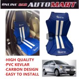 Sparzo Kevlar Carbon 3D Seat Cushion Seat Mat 1 Pc MADE IN THAILAND (BLUE+WHITE LINE) For CHERY MAXIME