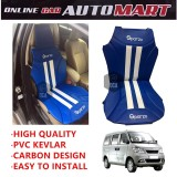 Sparzo Kevlar Carbon 3D Seat Cushion Seat Mat 1 Pc MADE IN THAILAND (BLUE+WHITE LINE) For CHERY TRANSCAR