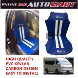 Sparzo Kevlar Carbon 3D Seat Cushion Seat Mat 1 Pc MADE IN THAILAND (BLUE+WHITE LINE) For CHERY TRANSCOM
