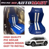 Sparzo Kevlar Carbon 3D Seat Cushion Seat Mat 1 Pc MADE IN THAILAND (BLUE+WHITE LINE) For CITROEN C4 CACTUS